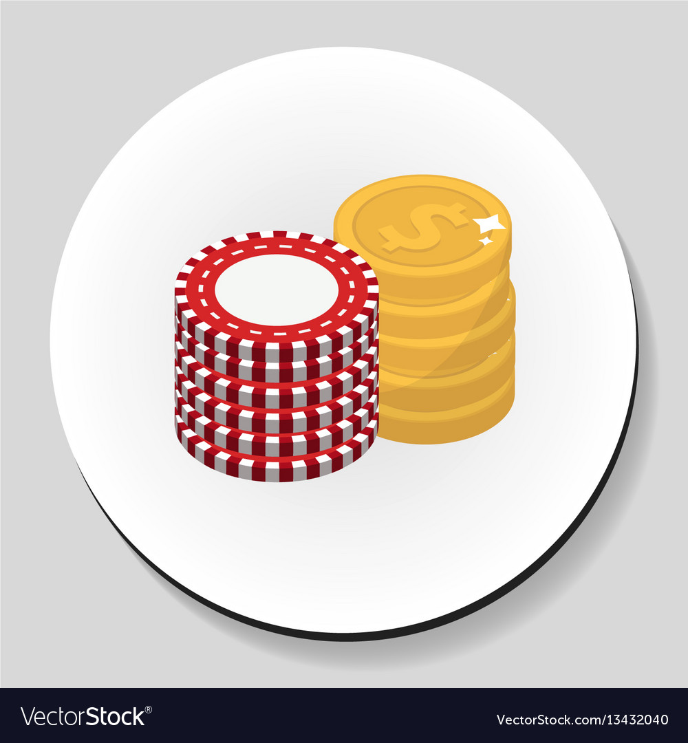 Money and chips stack sticker icon flat style