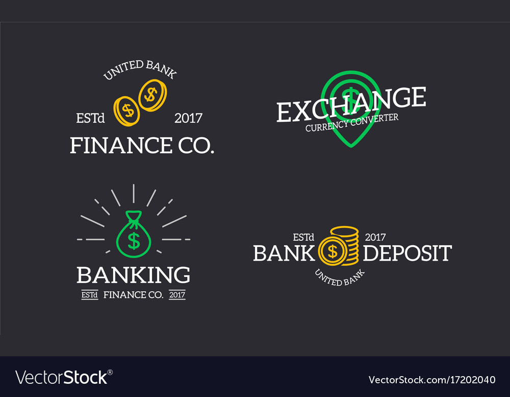 Retro Bank Design.Set Of Retro Vintage Money And Bank Coin Bag Vector Image