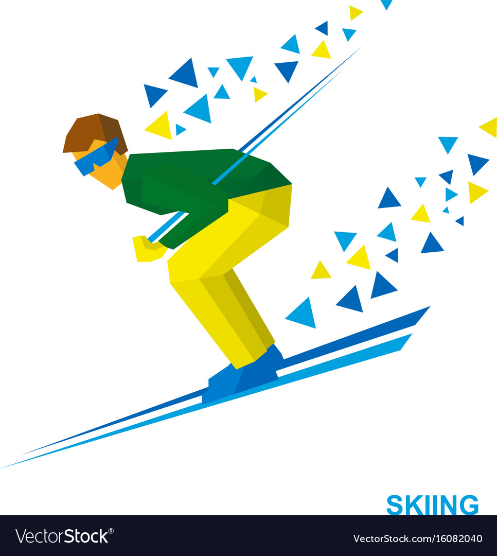Skiing cartoon skier running downhill vector image