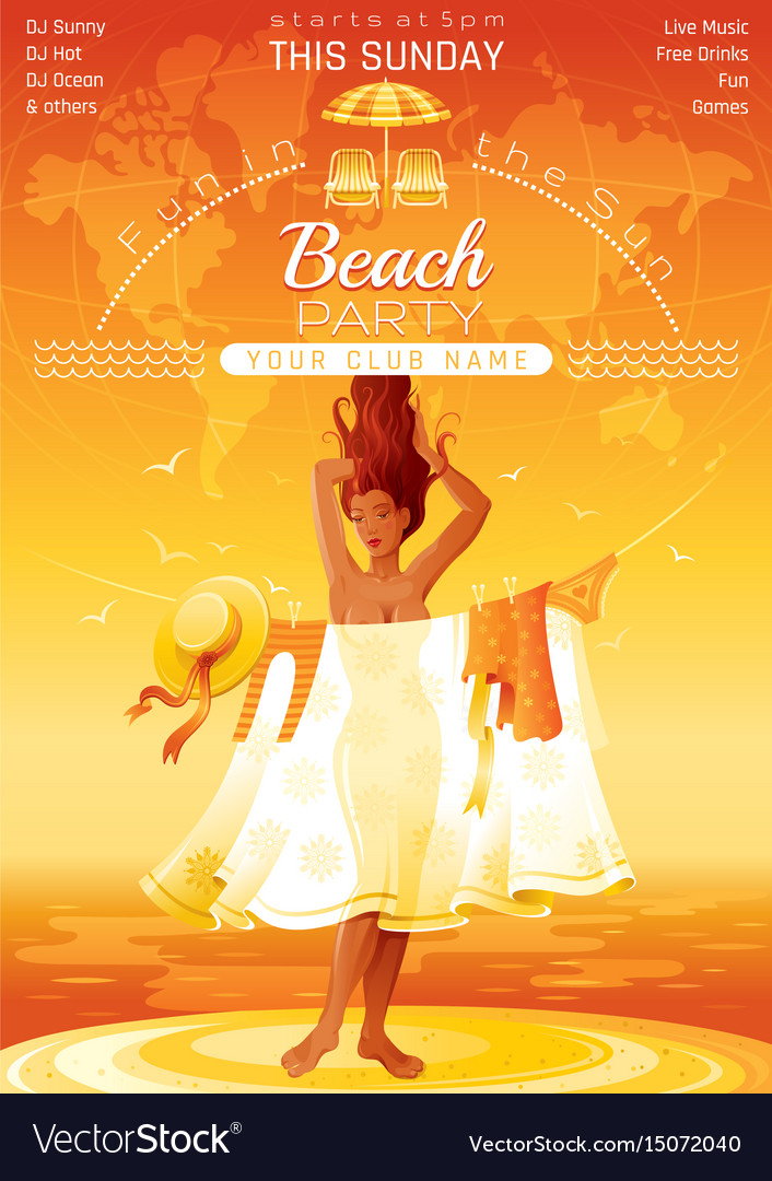 Summer party invitation flyer design sea beach