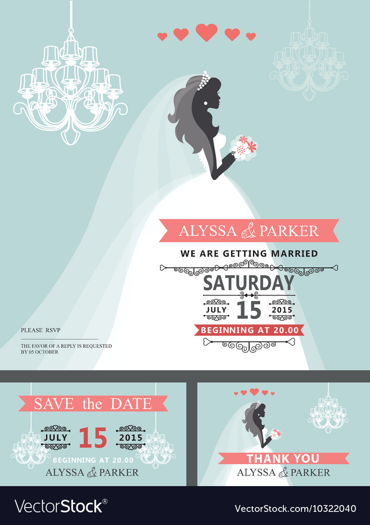 Wedding Bridal shower invitationCartoon bride