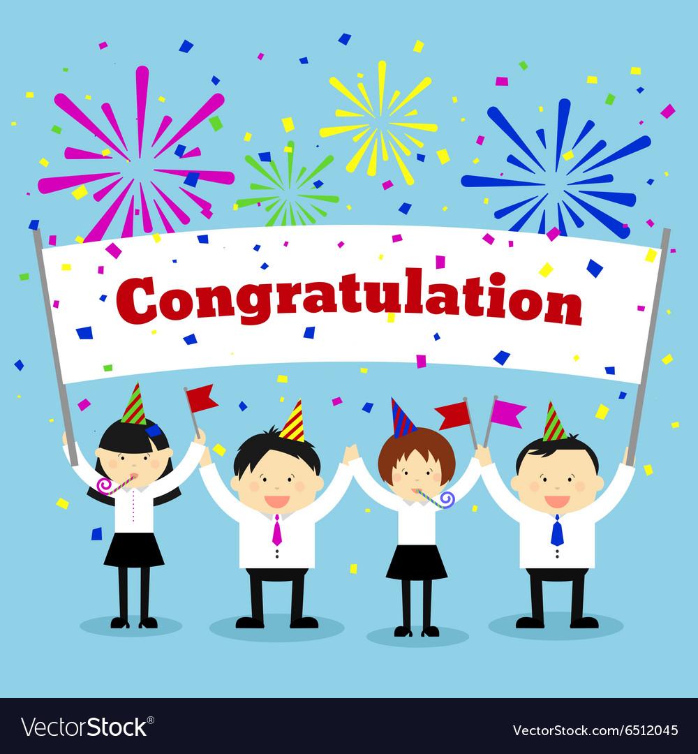 Businessmen holding congratulation sign