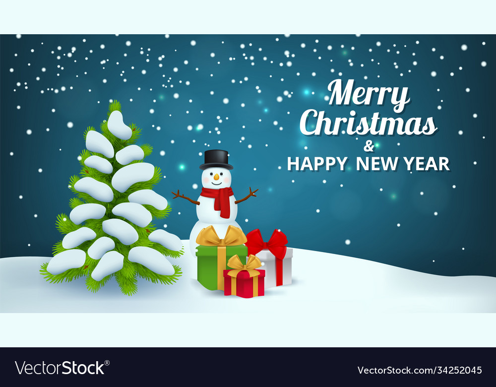Christmas snowy background snowman gifts x-mas