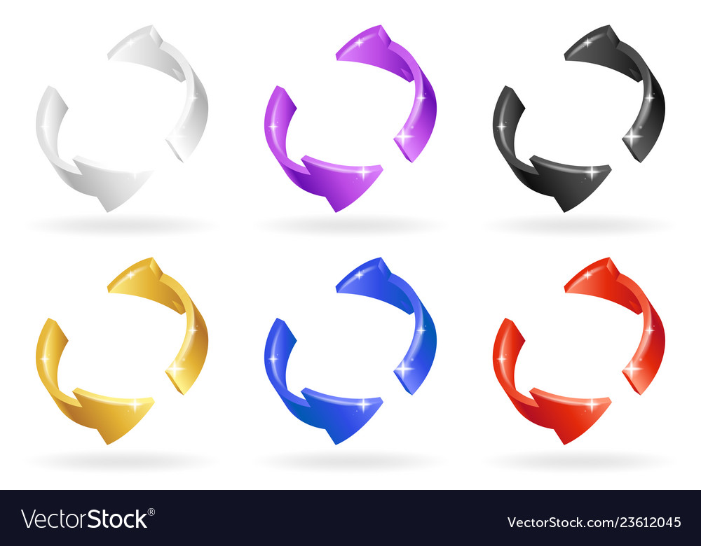 Colorful abstract spin rotation arrows set