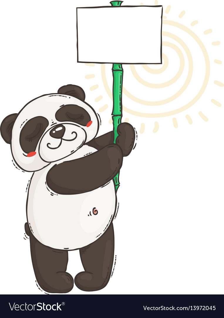 Cute panda with a poster on a bamboo stick