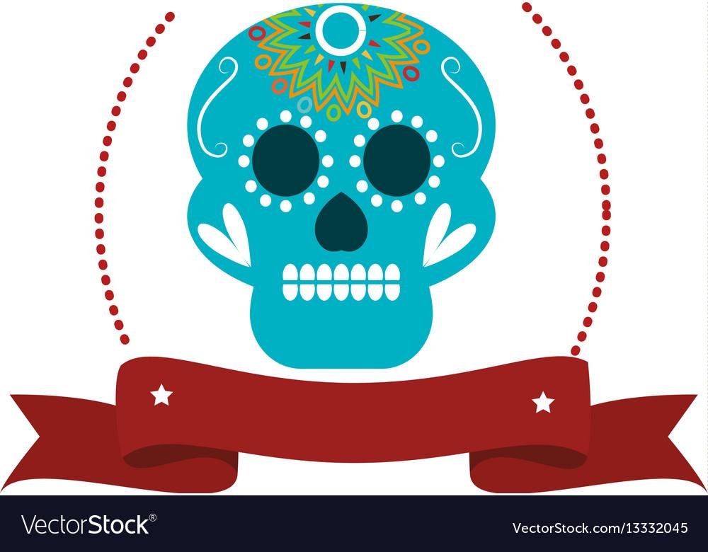 Decorative ornamental sugar skull with ribbon