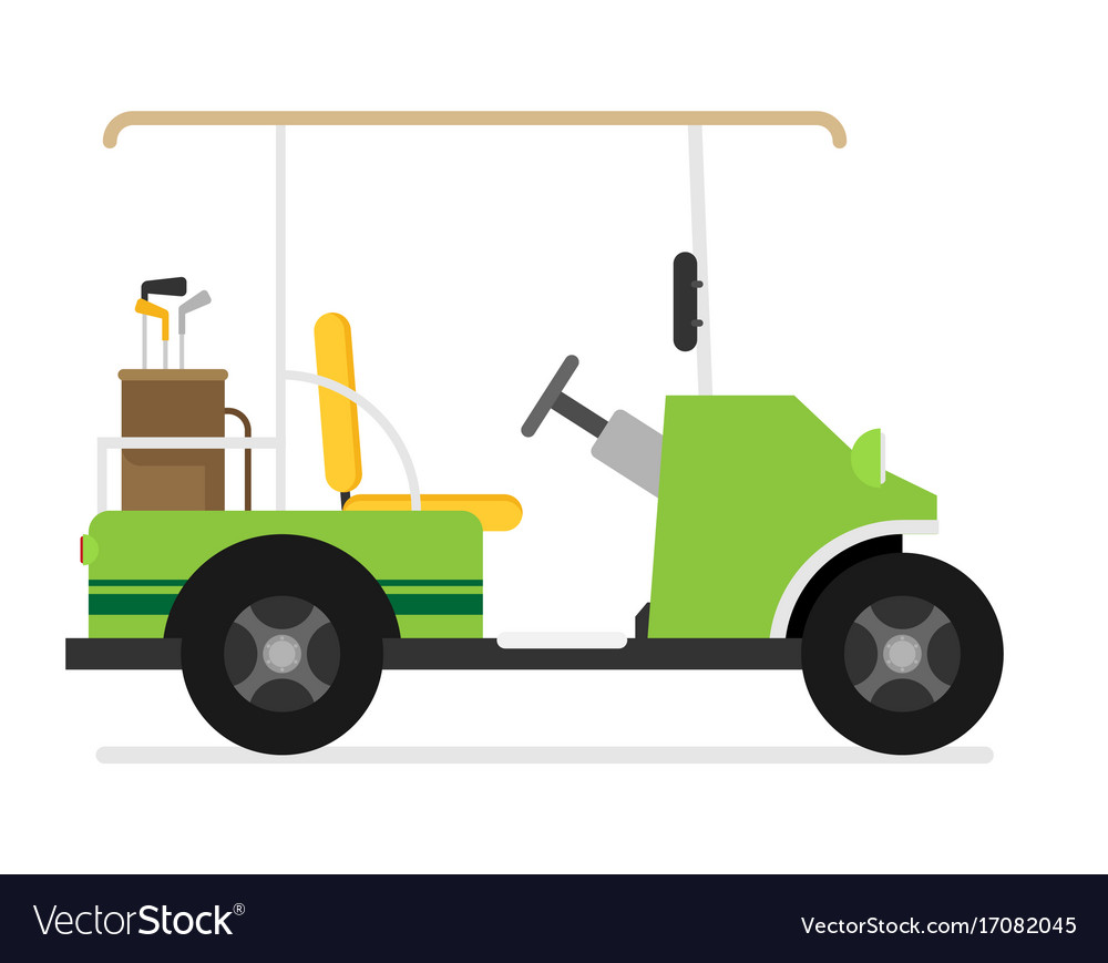 Flat golf car isolated on white background