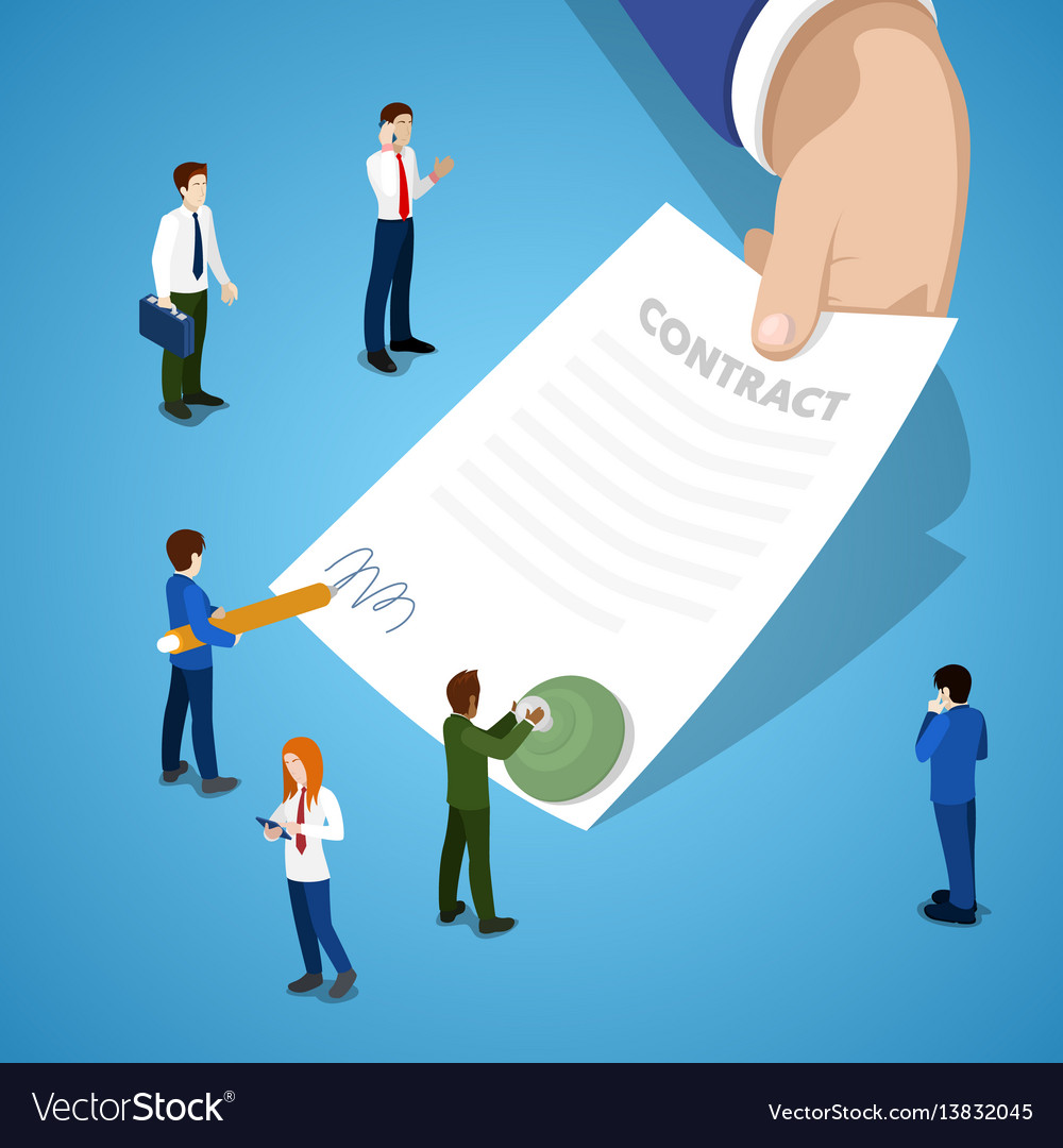 Miniature business people signing contract