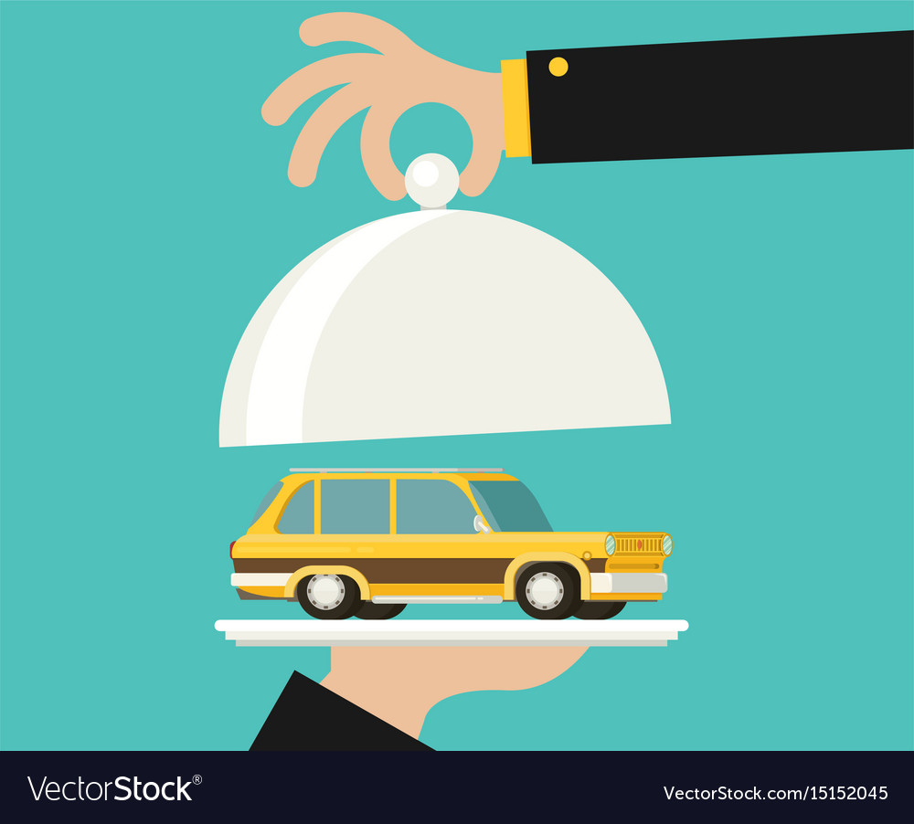 Picture of human hand holding tray with car flat vector image