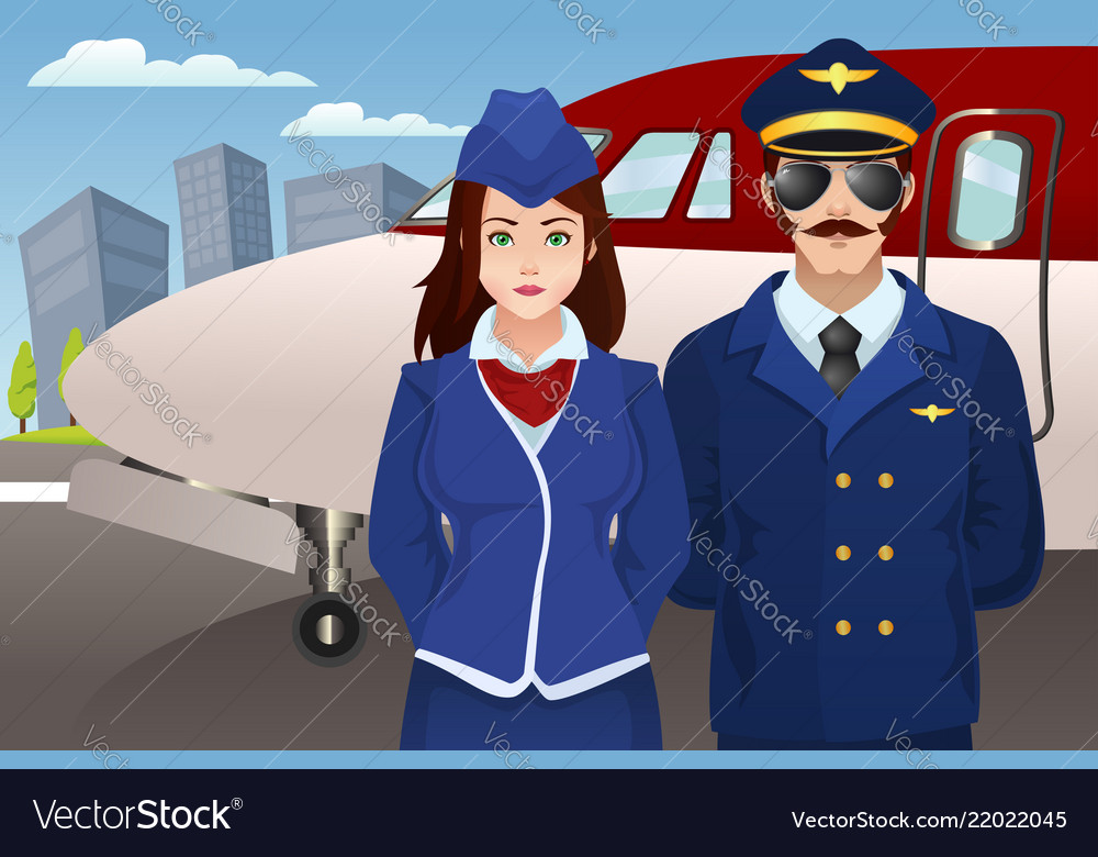 Pilot and flight attendant in front of the