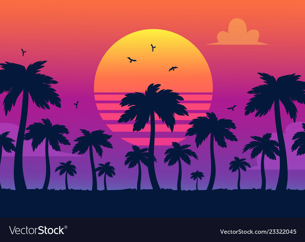 Purple sunset on palm icons backdrop