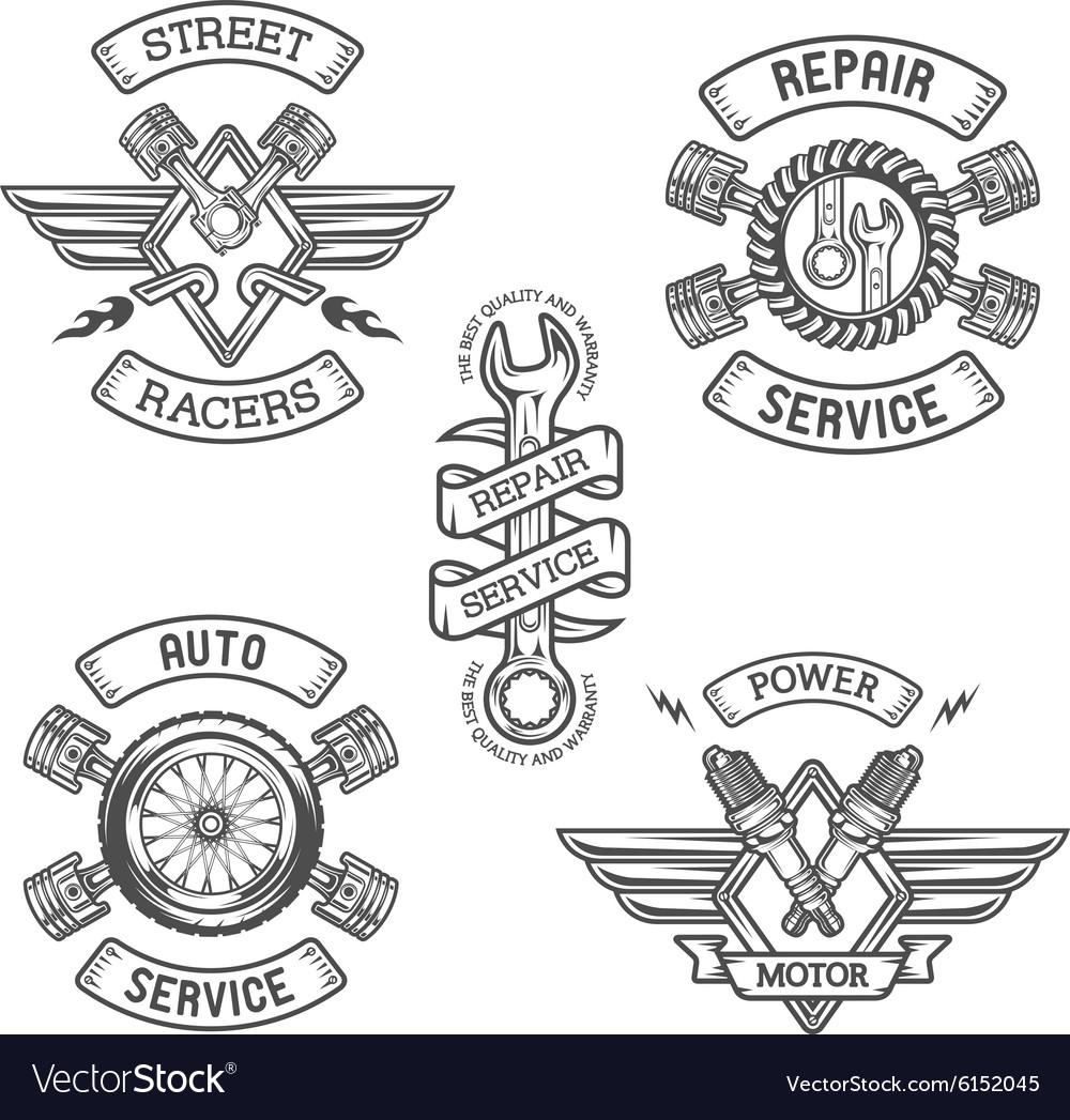 Set of Car emblems badges vector image
