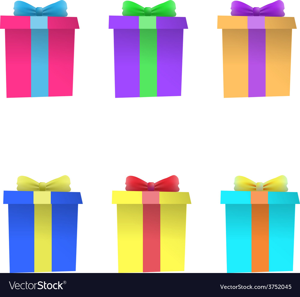 Set of multi-colored gift boxes
