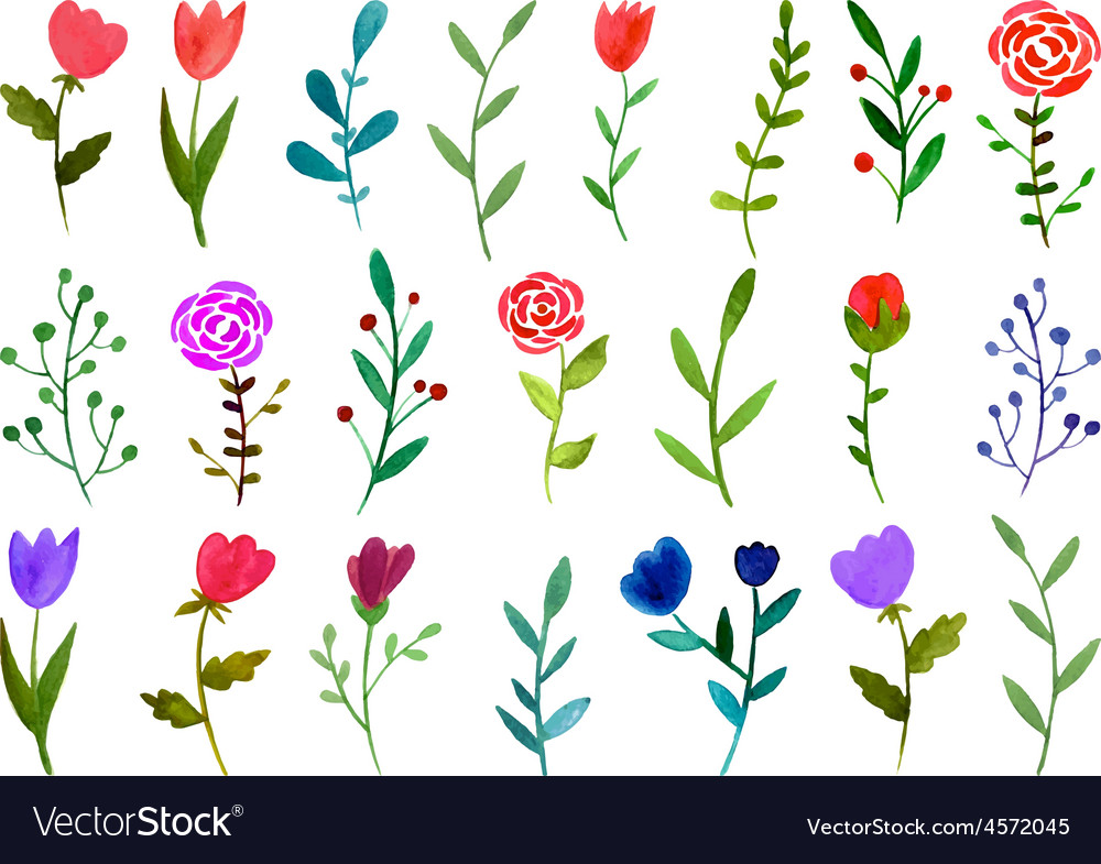 Set of watercolor doodle flowers