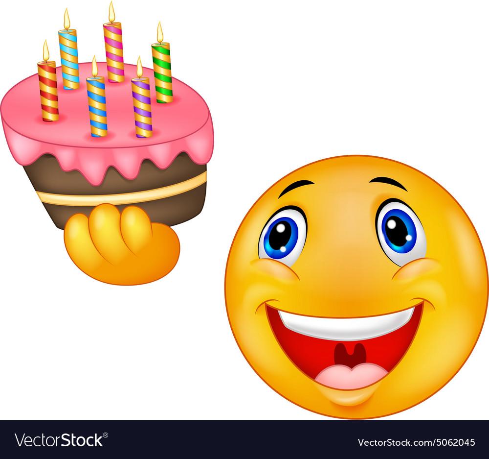 Sensational Smiley Emoticon Holding Birthday Cake Royalty Free Vector Personalised Birthday Cards Vishlily Jamesorg