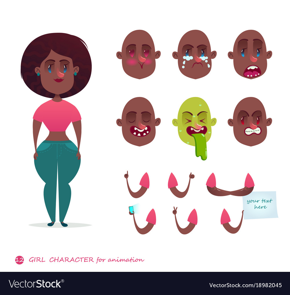 Woman Emotion Faces Emoji Face Icons Royalty Free Vector
