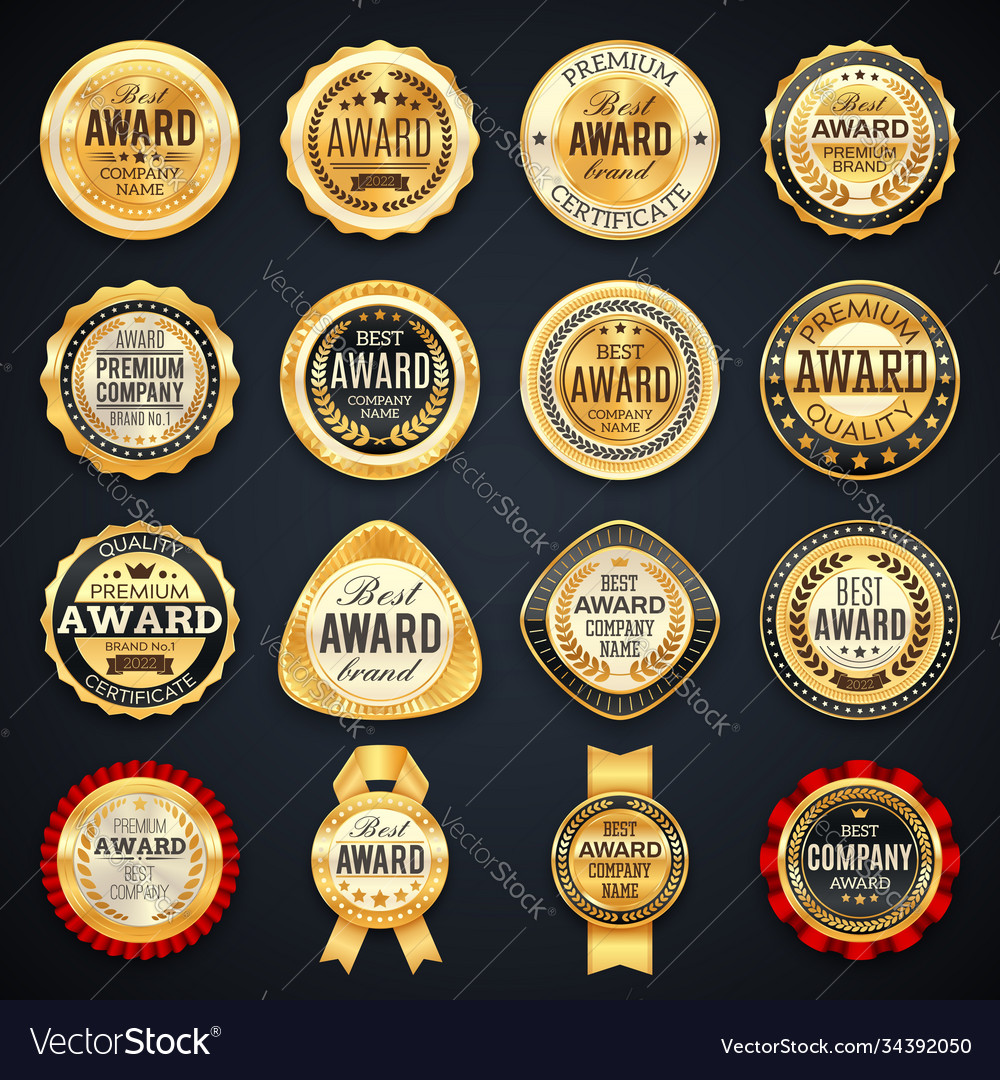 Award and quality labels isolated emblems