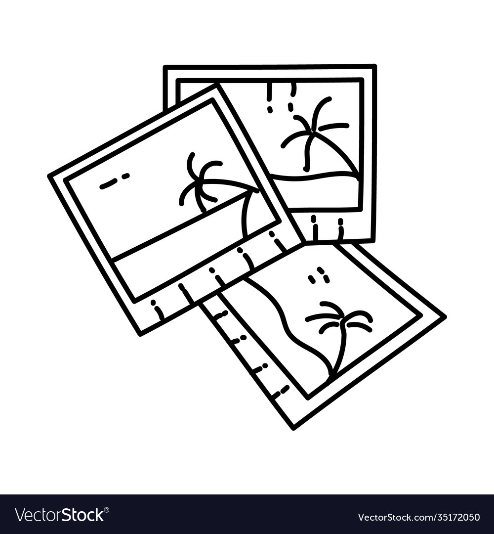 Beach photo icon doodle hand drawn or outline