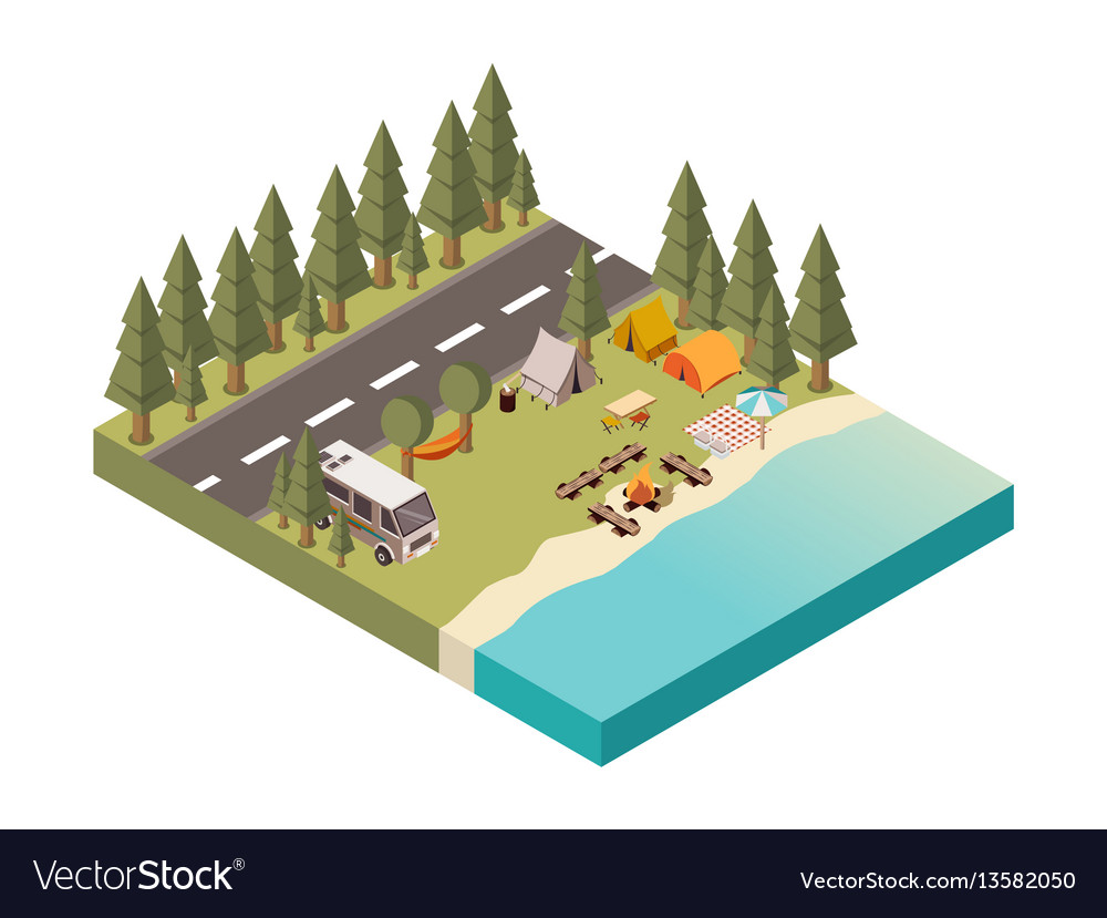 Camp between road and lake