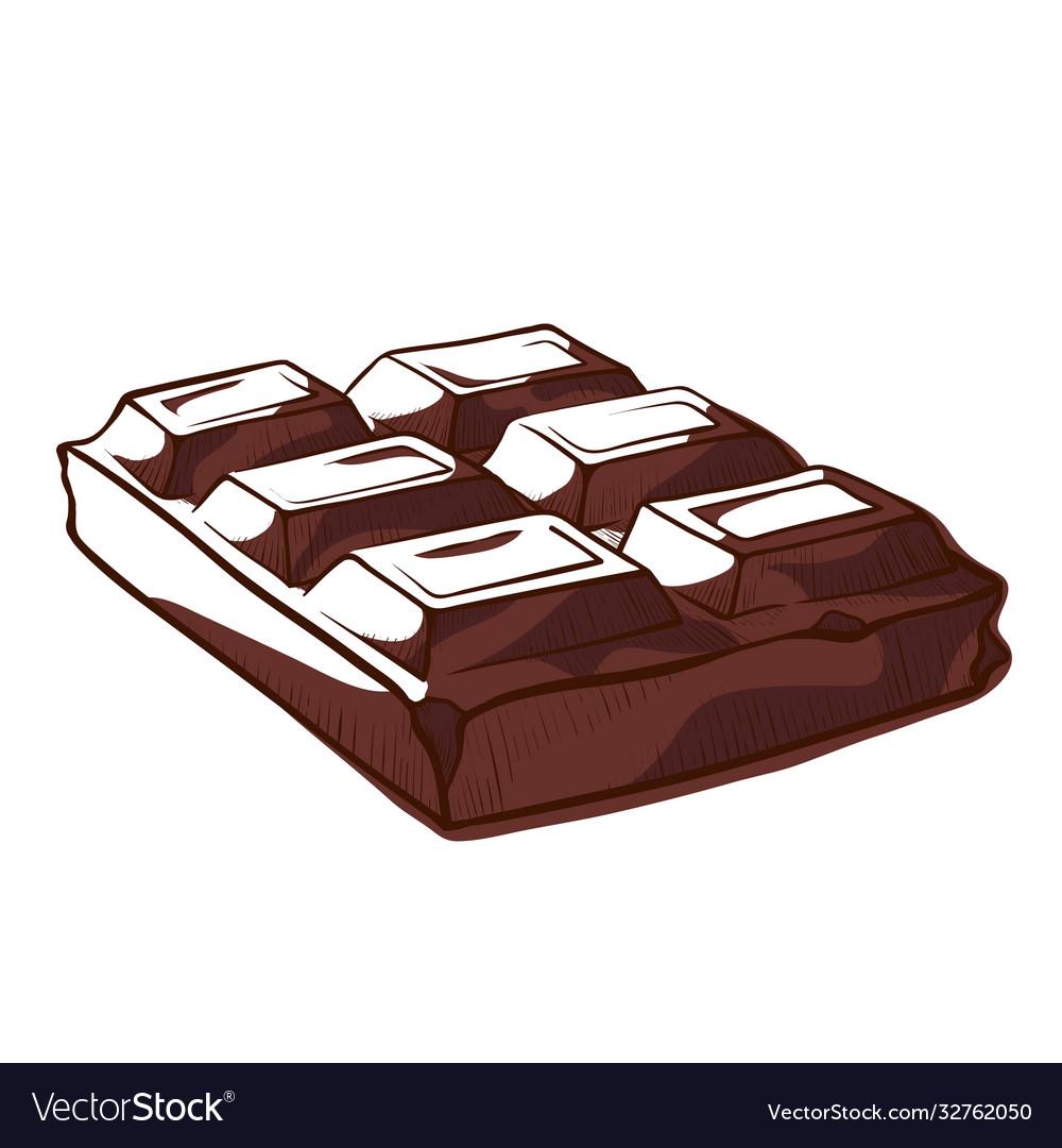 Chocolate bar square pieces sketch dark black
