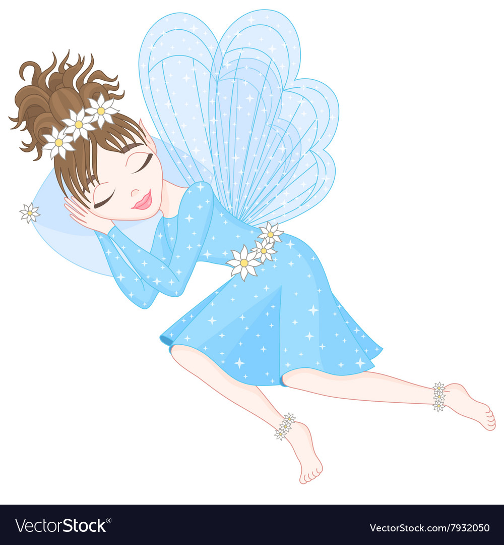 Cute fairy in blue dress with transparent wings is