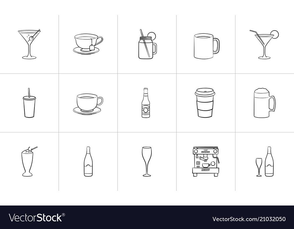 Drink hand drawn sketch icon set