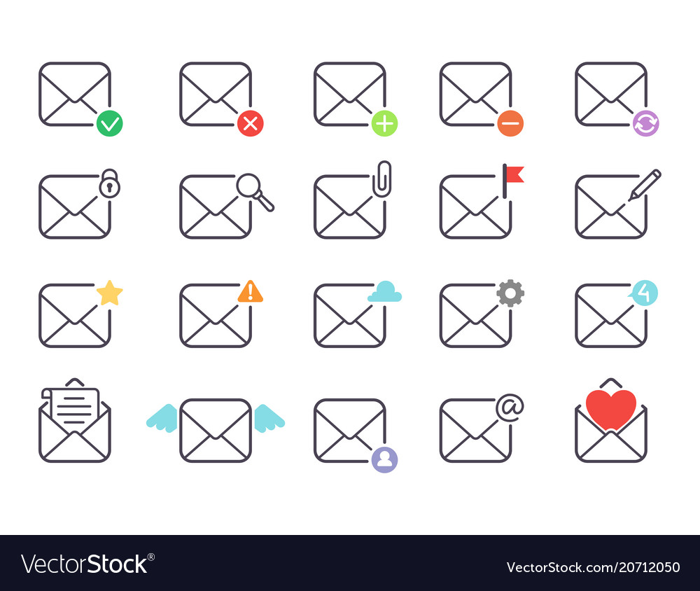 Email letter icons set envelope cover