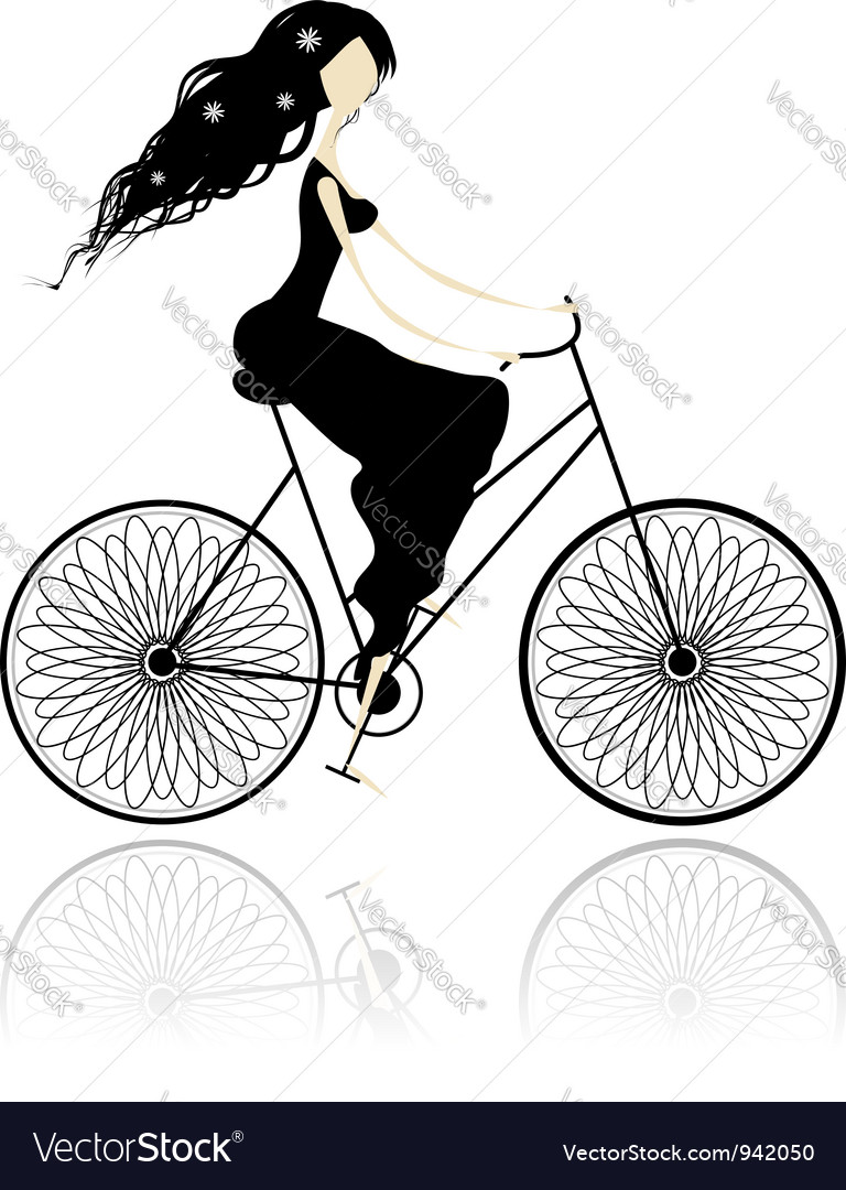 Girl in black dress cycling