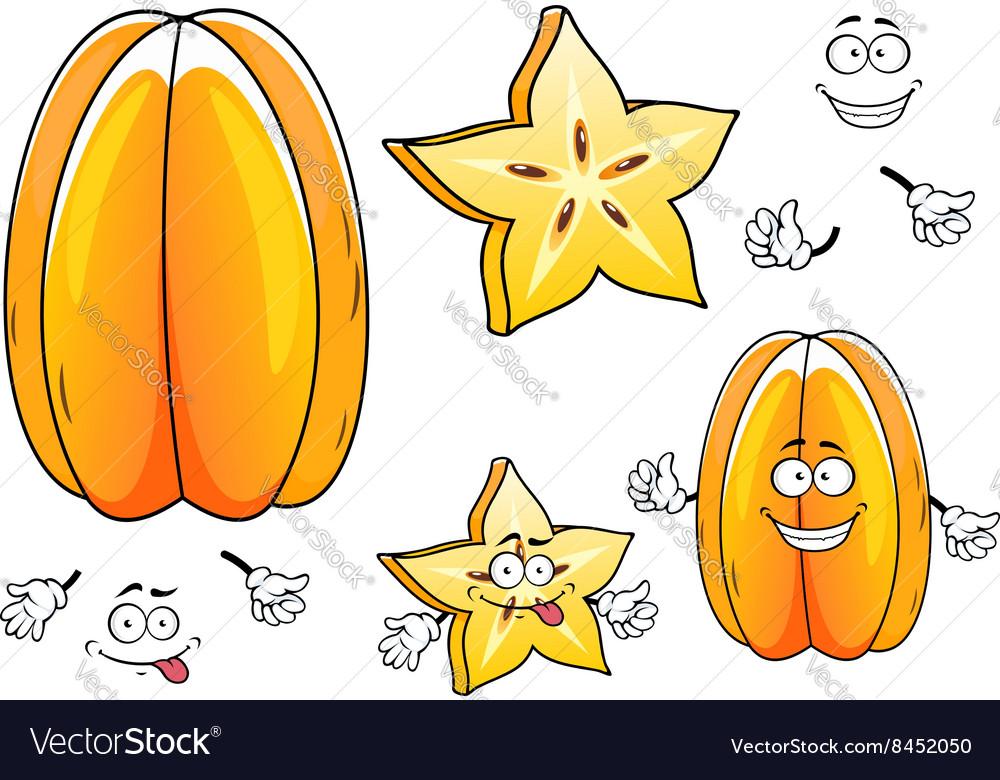 Juicy tropical carambola fruit cartoon characters
