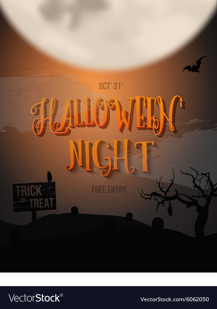 Scary Halloween Night Poster with Big Moon Bat
