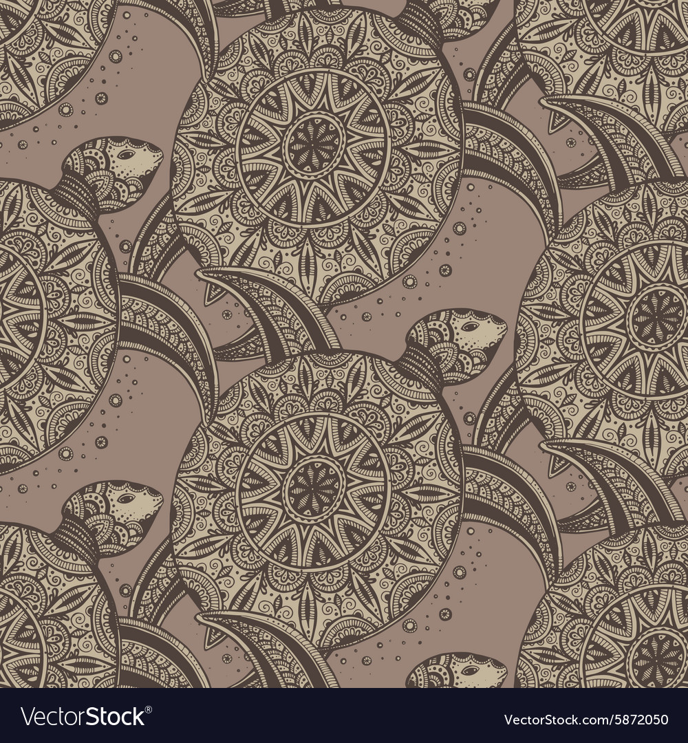 Seamless pattern Hand drawn brown doodle turtles vector image