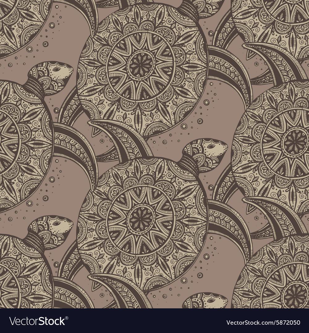 Seamless pattern Hand drawn brown doodle turtles