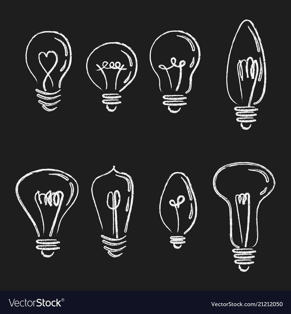 Set light bulbs collection stylized energy
