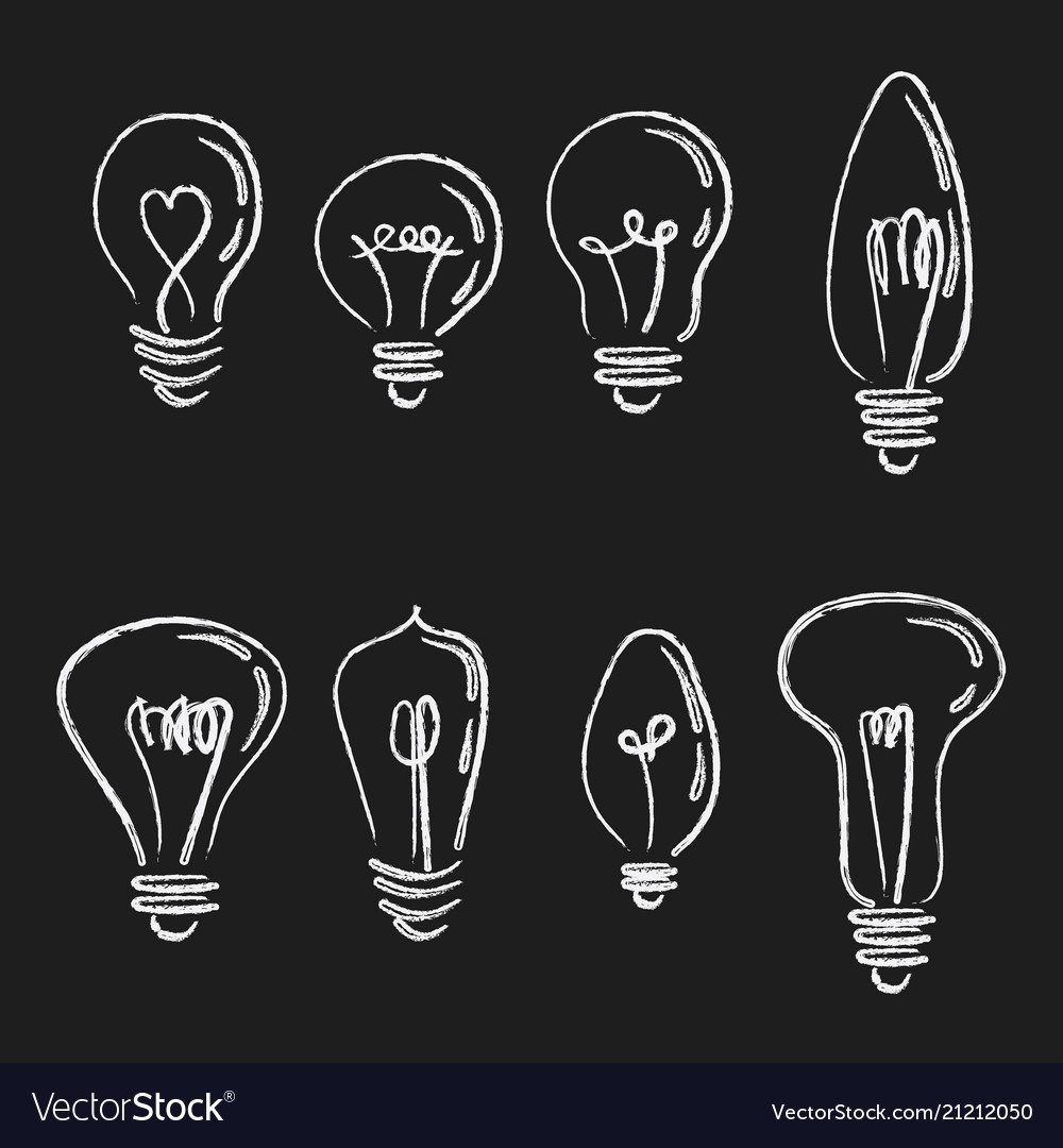 Set of light bulbs collection of stylized energy