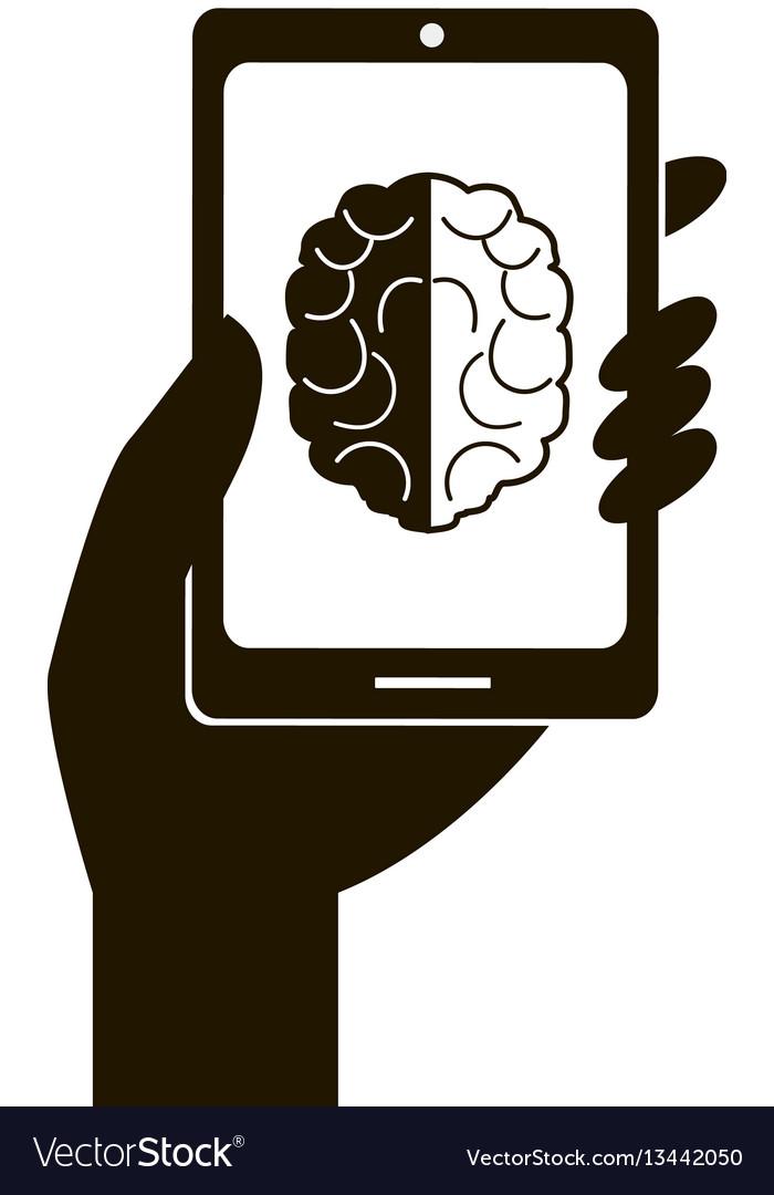Smartphone and brain icon