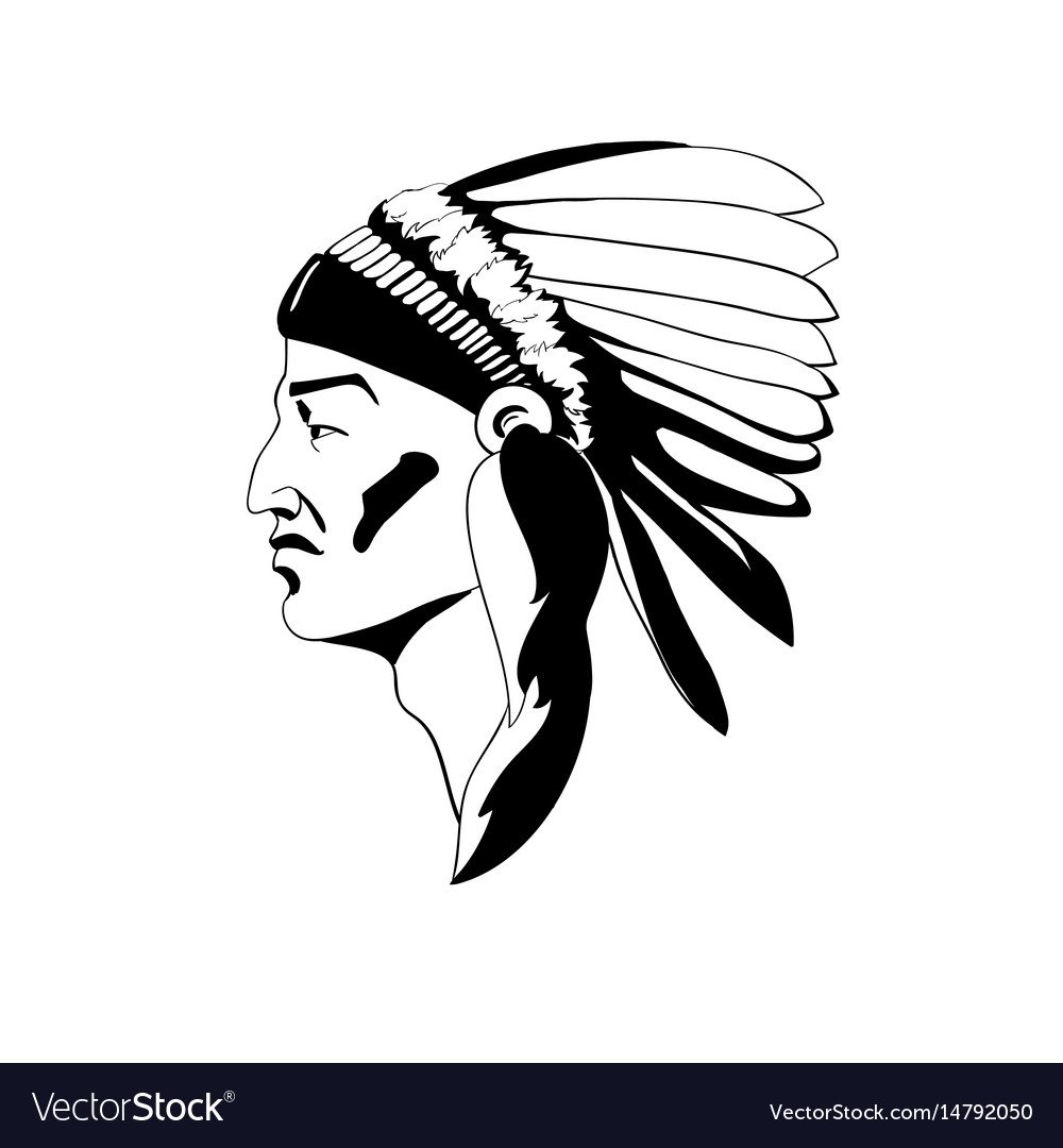 Stylized profile of the indian chief in