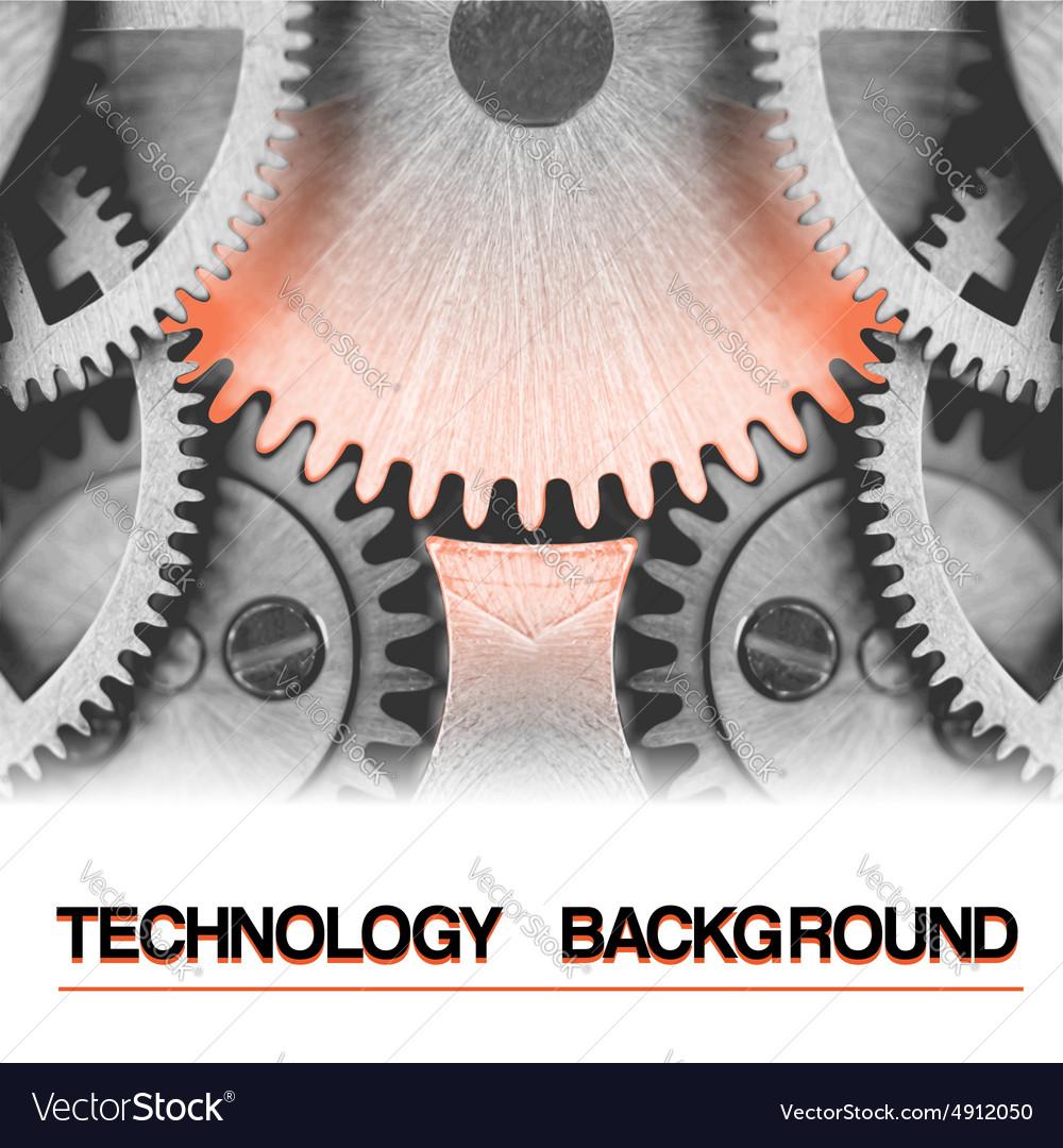Technology background burning hot gearwheel