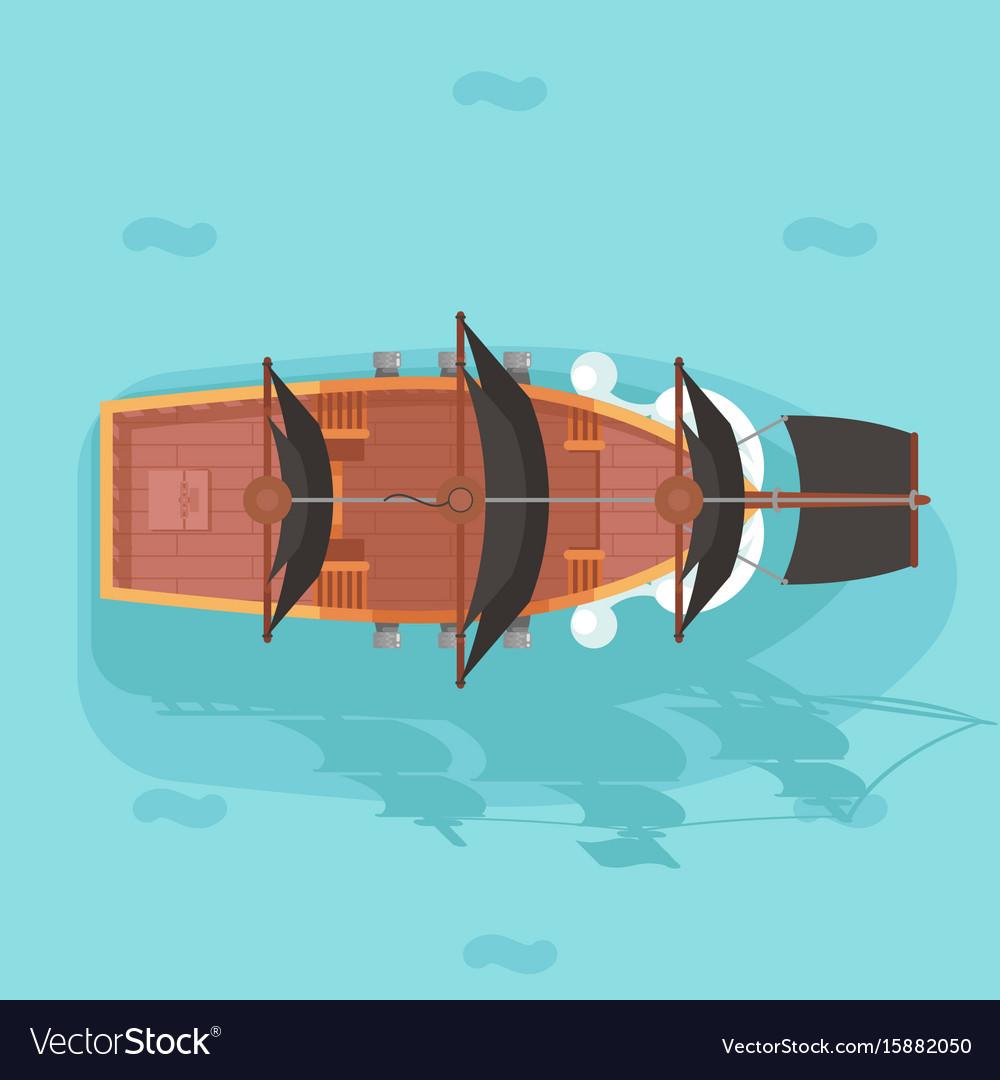 Top view vintage wooden pirate buccaneer