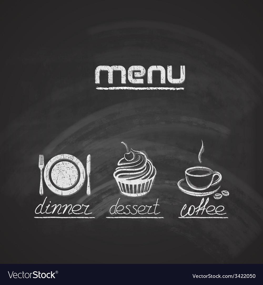 Vintage chalkboard menu design with plate fork and