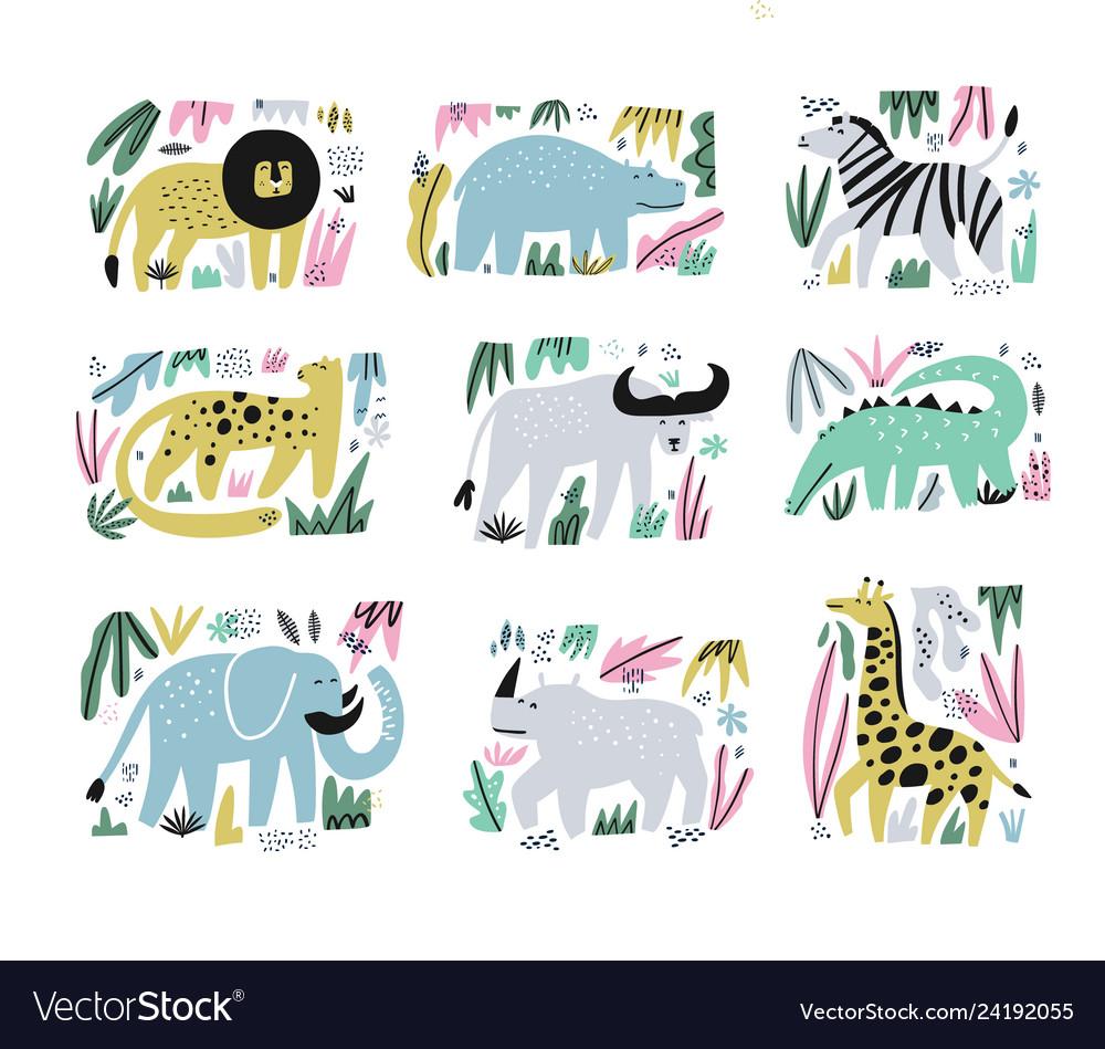 African animals hand drawn flat set