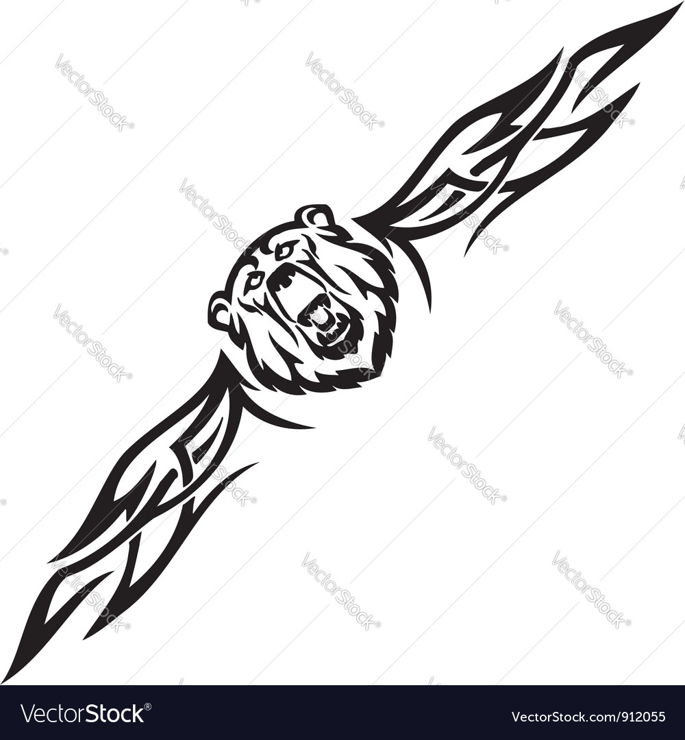 Bear and symmetric tribals vector image