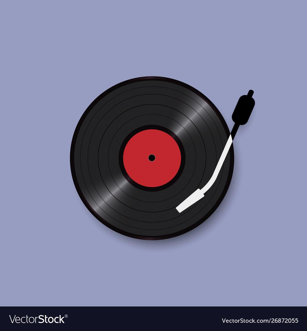Black vinyl record disc realistic style concept