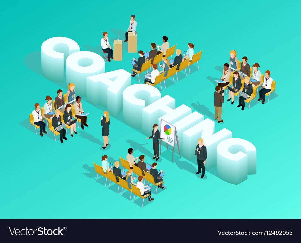 Business Education Isometric Template vector image