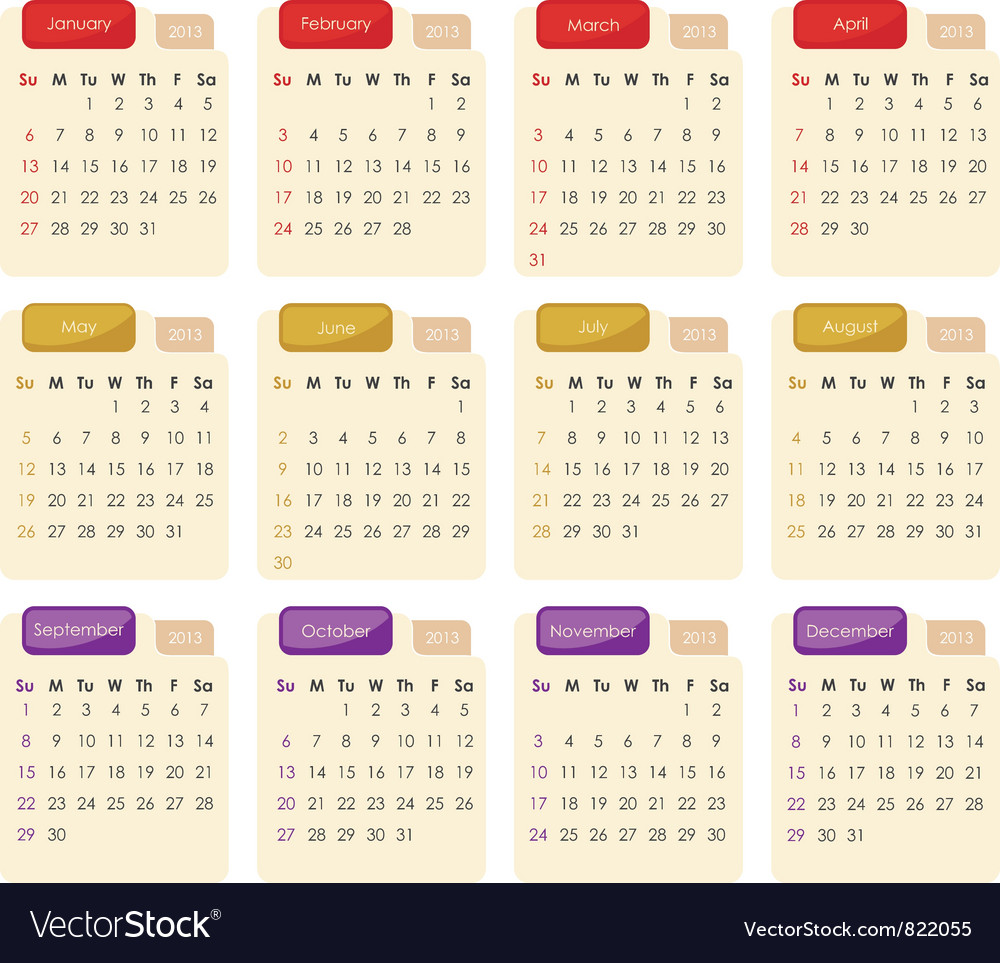 Calendar template 2013 free printable 2013 yearly calendar on calendar 2013 vector 822055 by yurumi royalty free vector art nvjuhfo Choice Image