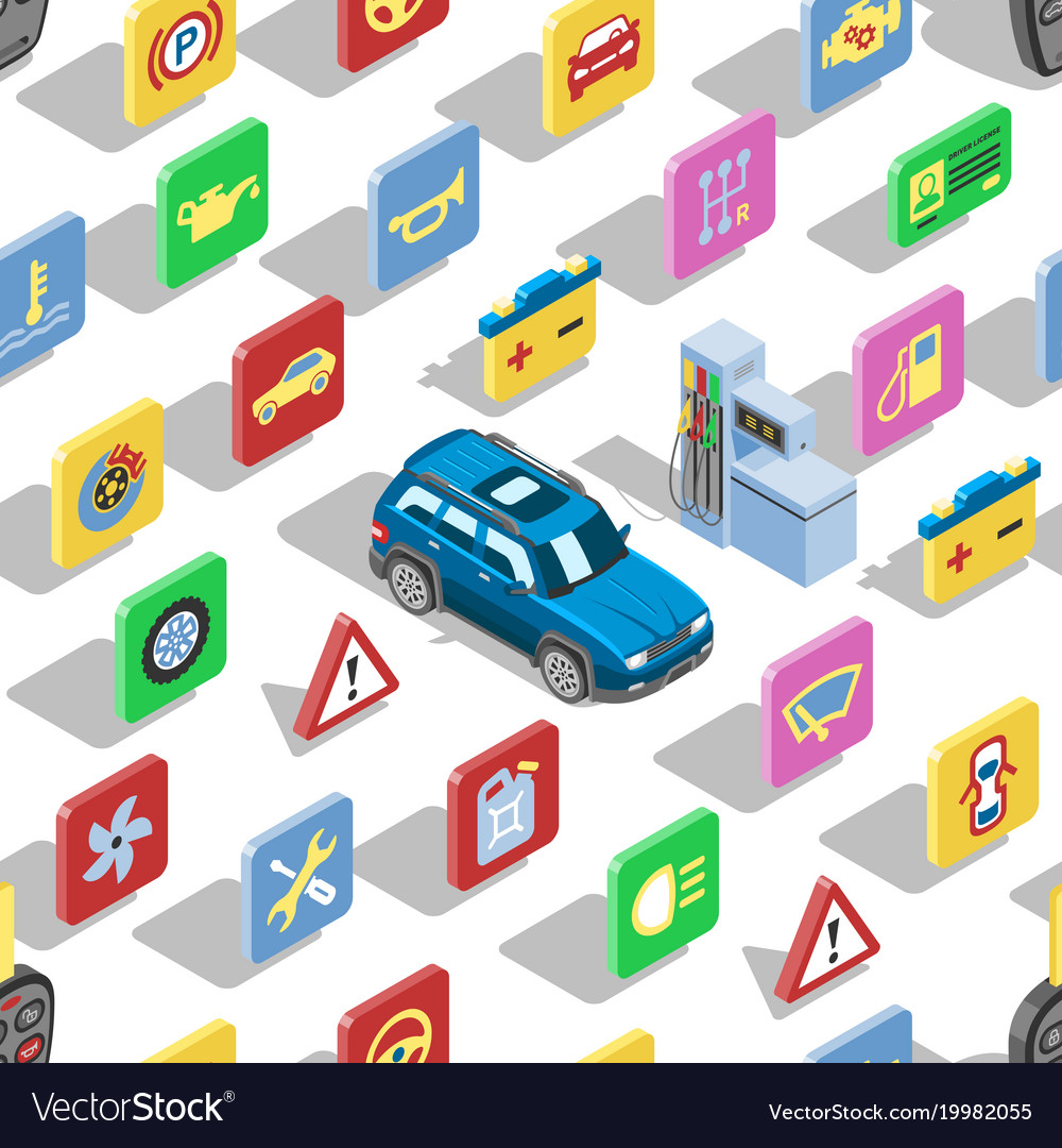 Car automotive icons isometric automobile vector image