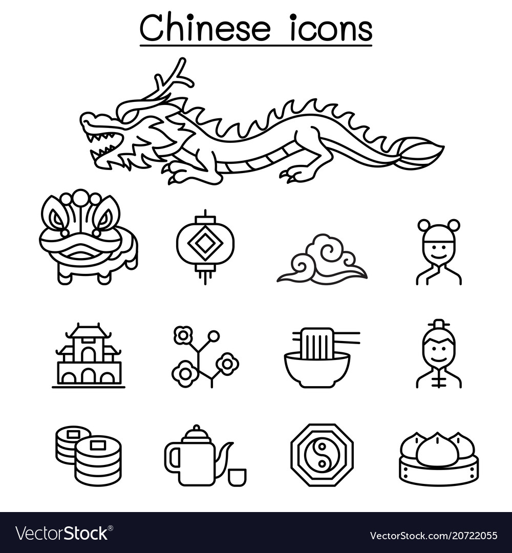 Chinese icon set in thin line style