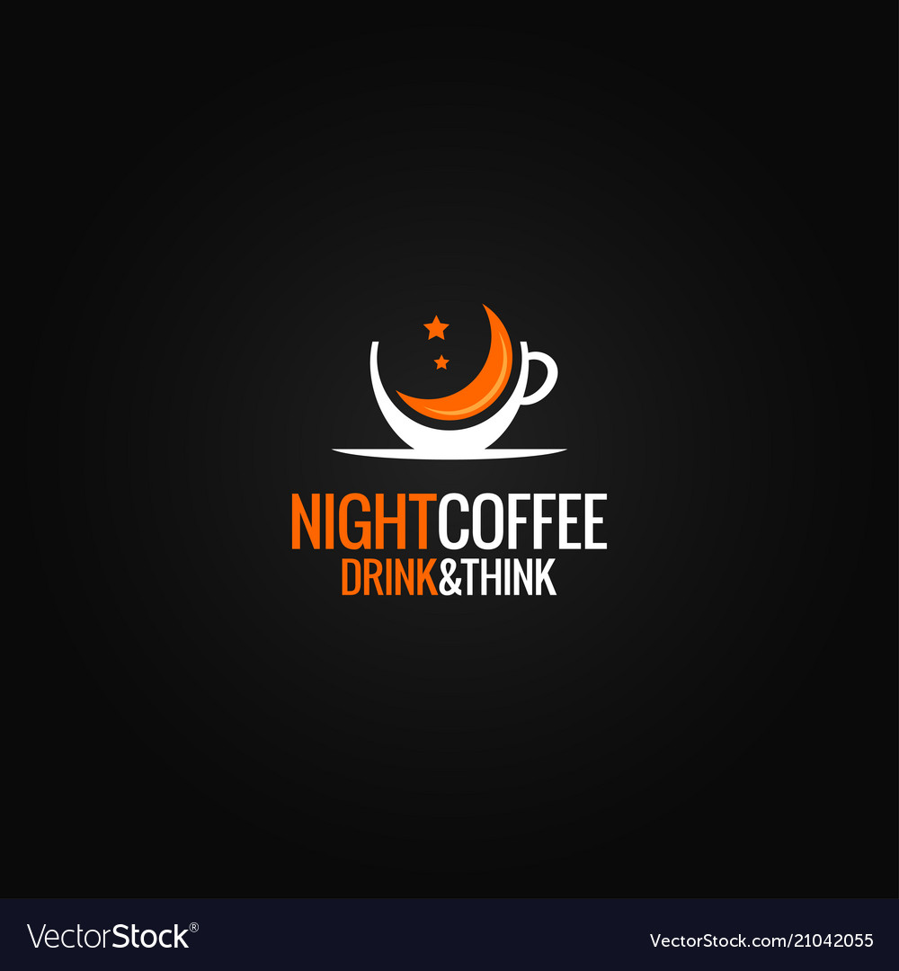 Coffee cup logo concept night cafe design on