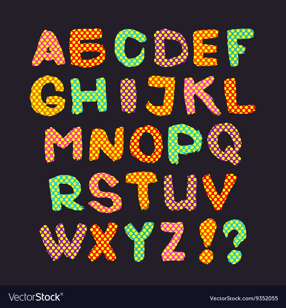 Colorful English alphabet on a gray background
