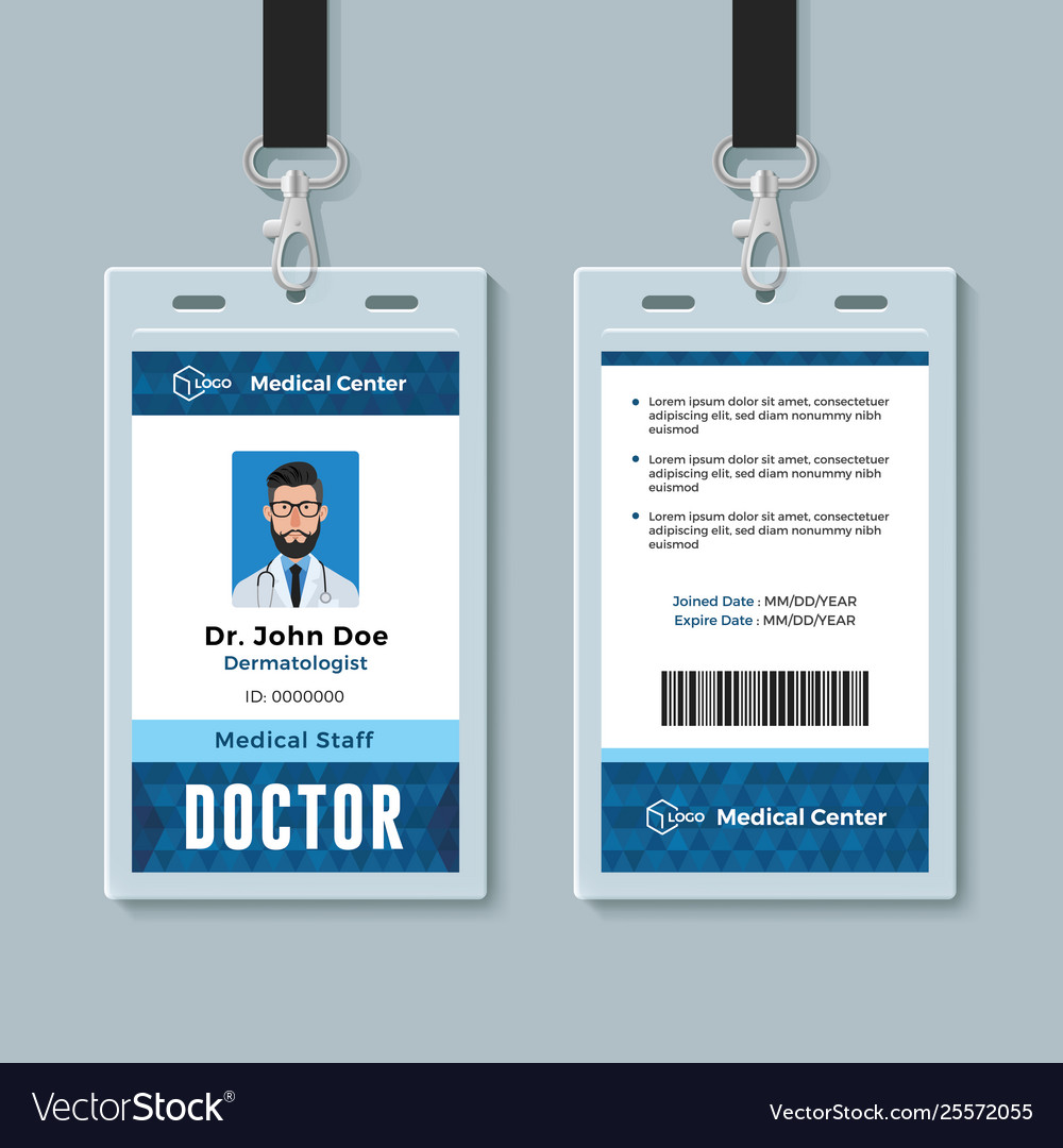 Doctor Id Card Medical Identity Badge Design