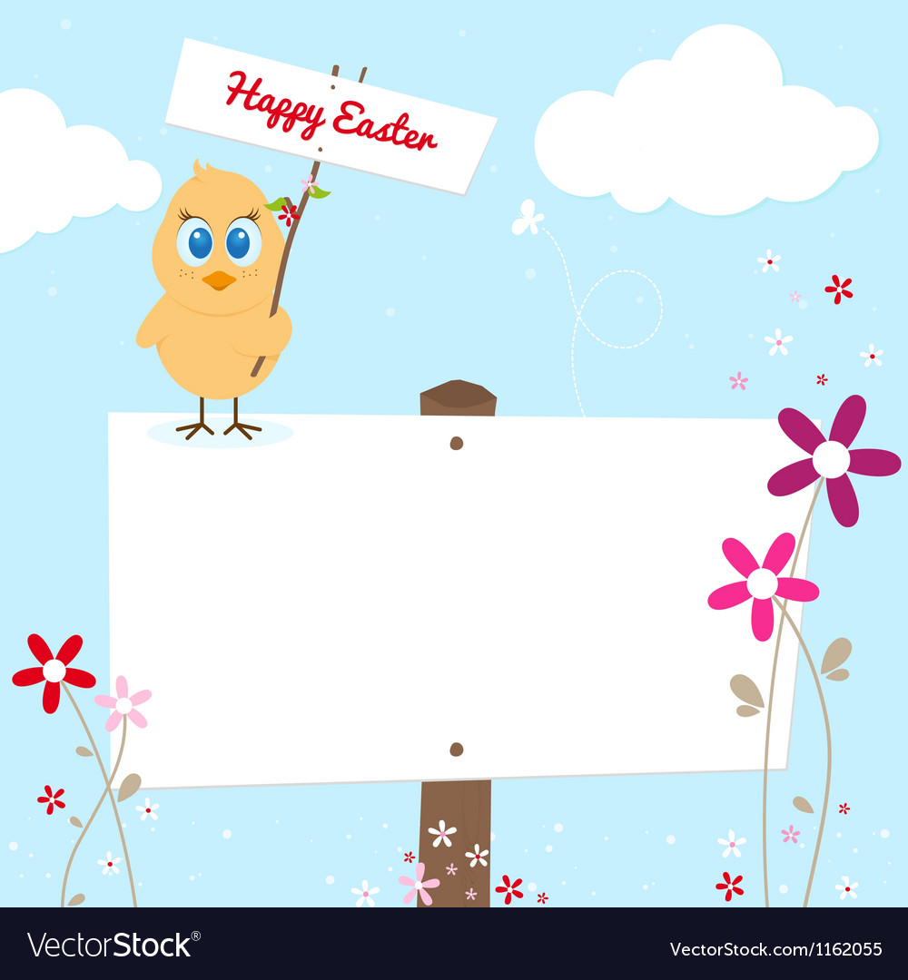 Easter chicken with signboard